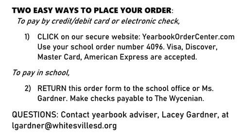 yearbook order instructions